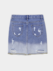 Light Blue Gradient Color Hole Denim Skirt