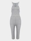 Grey Sexy Sleeveless Bodycon Halter Midi Jumpsuit