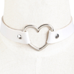 White Vintage PU Leather Love Heart Choker Necklace Goth Collar Chain H for Women