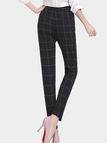 High Waist Checked Tapered Trousers