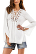 White Lace-up Long Sleeve Blouse