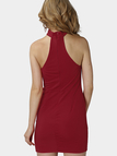 Red Halter Bandeau Mini Dress with Cut Out V Shape