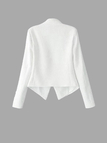 White Collarless One-Button Blazer