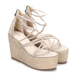 Apricot Suede Look Cross Straps Wedge Sandals
