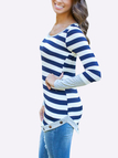 Blue Stripe Asymmetric Long Sleeve Top With Grey Cuffs