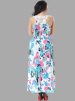 Plus Size Blue Wrap Front Maxi Dress in Floral Print