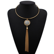 Golden Plated Collar Necklace With White Stone Tassels Pendant