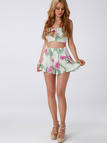 Sexy Floral Print Open Back Top & Shorts Co-ord