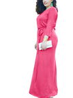Plus Size 1/2 Length Sleeves Drawstring Waist Maxi Dress in Pink