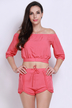 Watermelon Red Off Shoulder Elastic Co-ord Set