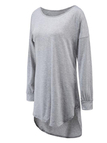 Grey Casual Round Neck Curved Hem Dress with Long Sleeves