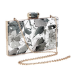 Floral Wash Painting Leather-look Box Clutch Bag in Grey