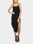 Black Drawstring Waist Irregular Hem Cami Dress