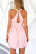 Plunge Halter Chiffon Mini Dress