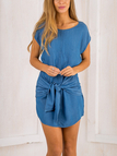 Blue Simple Round Neck Mini Dress