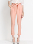 Pink Cropped Trousers with Belt