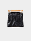 Black Leather Look Mini Skirt with Tassel Detail