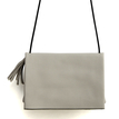 Leather-look Fold Over Across Body Bag in Grey with Tassel