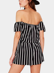 Off Shoulder Black and White Stripe Stretch Waistband Playsuit