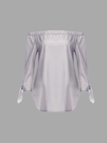 See-through Grey Off Shoulder Self-tie Cuffs Curved Hem Shirt