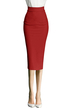 Red Stretchy Pencil Skirt In Knit