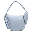 Light Blue Zipper Front Pocket Shoulder Bag
