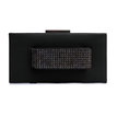 Leather-look Box Clutch Bag with Hand Grab in Black