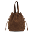 Brown Suede-look Drawstring Bucket Bag