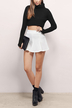 Black Knitted Crop Jumper with Thumb Holes