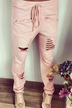 Pink Drawstring Waist Pocket Holes Casual Trousers