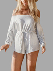 Stripe Pattern Off Shoulder Open Back Playsuit