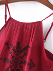Red Tribal Embroidery Cami Crop Top wirh Side Lace-up