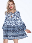 Retro Print Boho Dress With Self-Tie Neck