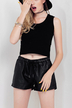 Black PU Shorts with Tie Waist