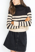 Cropped Striped Jumper with High Neck