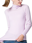Light Purple Hollow Out High Neck Jumper