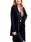 Black Long Sleeve Waterfall Cardigan