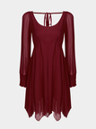 Burgundy Cold Shoulder Pleats Round Neck Dress with Lining