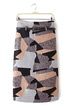 Geo Print Pencil Skirt with Belt