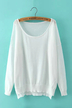 Semi-sheer Long Sleeve Knitted Top in White