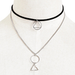 Silver Plated Geometry Pendant Velvet Ribbon Choker Necklace