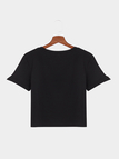 Black Thanks for Nothing Letter Pattern T-shirt Crop Top