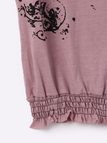 Sheer Floral Print Pattern T-shirt with Lace Details