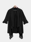 Black Irregular Hem Loose Coat