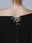 Black Off Shoulder Flared Sleeves Top with Lace-up Details