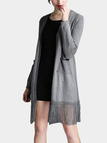 Grey Longline Knitted Cardigan With Tassel Hem