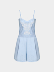 Blue Embroidery Pattern Adjustable Shoulder Straps Backless Playsuit