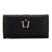 Foldover Leather-look Long Purse in Black