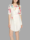 See Through Floral Print Mini Shirt Dress