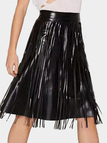 High Waist Artificial Leather Skirt with Tassel Details